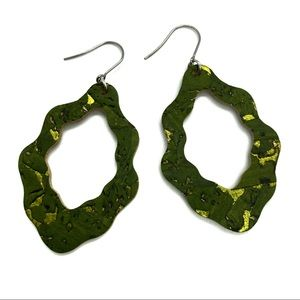Green and Gold Cork Scallop Earring
